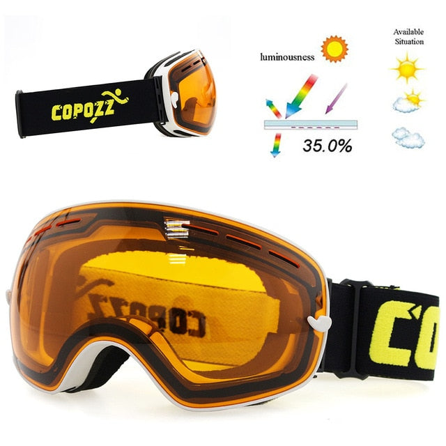 c73a41c0ea6d ... COPOZZ brand professional ski goggles double layers lens anti-fog UV400  big ski glasses skiing ...