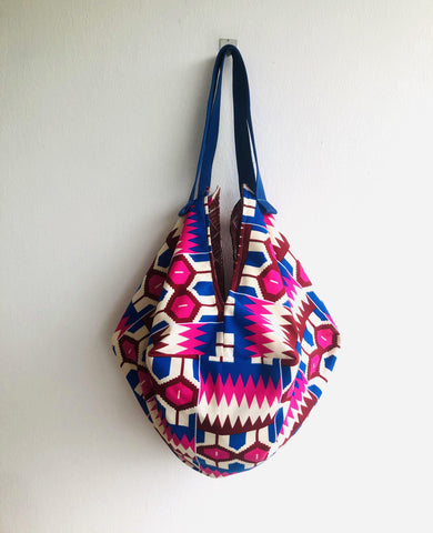 Sac origami bag , reversible African fabric shoulder bag , sac tote bag | African geometries