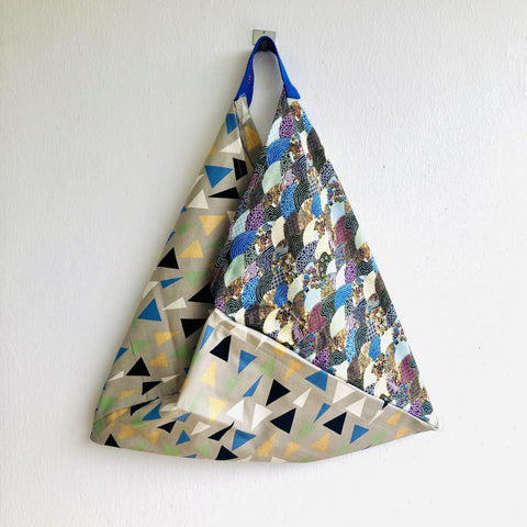 Origami bento bag , shoulder tote fabric bag | Streets of Osaka