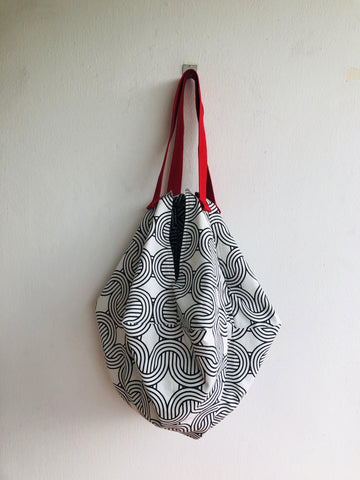 Shoulder minimalist fabric bag, sac origami bag, eco friendly shopping reversible bag | black & white curves