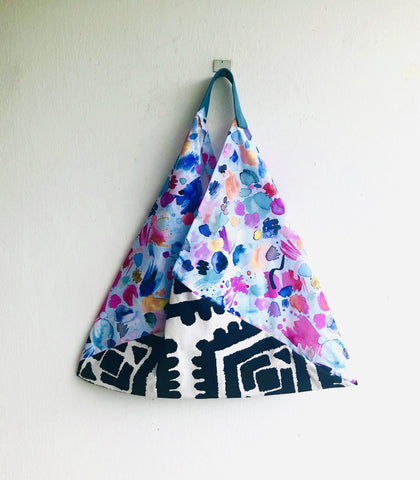 Bento origami bag , shoulder tote triangle bag | Summer sky at night