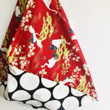 Origami bento bag , shoulder tote fabric bag , Japanese inspired bag | Dots & cranes