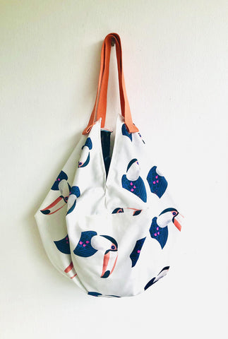 Origami sac bag , reversible sac tote fabric bag , Japanese inspired | Toucans flying over Japanese water