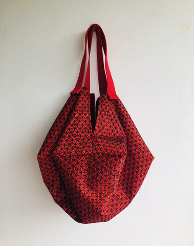 Shoulder sac origami bag , ooak sac bag , reversible elegant Japanese inspired bag | Red Shanghai