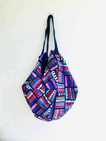 Sac reversible bag , origami handmade colorful velvet lining bag | Candies & dark blue velvet