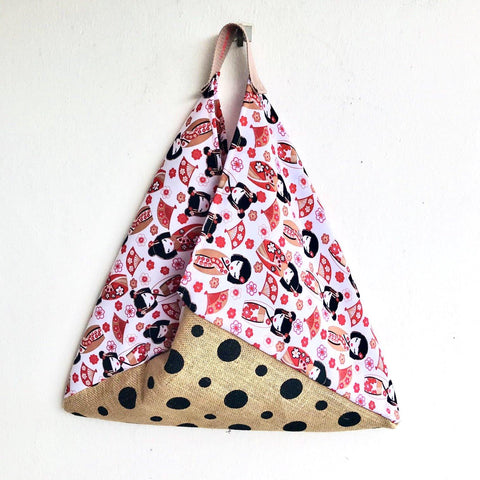 Origami shoulder bento tote bag , ecofriendly cool jute bag | white kokeshi dots