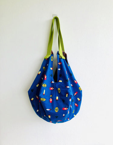 Shoulder origami bag , sac reversible bag , eco friendly Japanese inspired bag |Bugs are cute