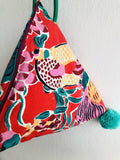 Silkscreen print fabric bag , cool colorful dumpling bag , pom pom cute bag | Cadmium red Garden In Shanghai with pom poms