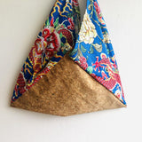 Origami bento bag , colorful triangle shoulder bag  , cool cork tote bag | Lucky dragon & raw cork