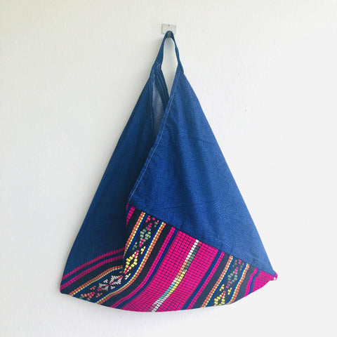 Origami tote bag , handmade Japanese inspired eco bag | El mar de Acapulco