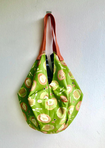 Sac origami reversible bag , handmade colorful shopping eco bag , Japanese inspired bento bag | Today I feel like having nasi lemak and satay