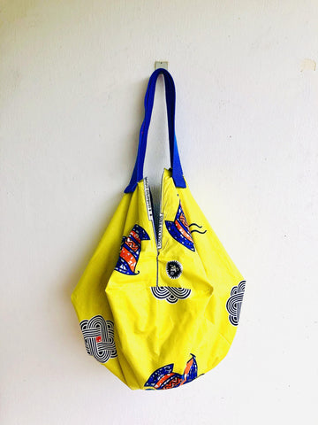 Origami sac African fabric bag , reversible artisan bag , eco friendly shopping sac bag | Amarillo