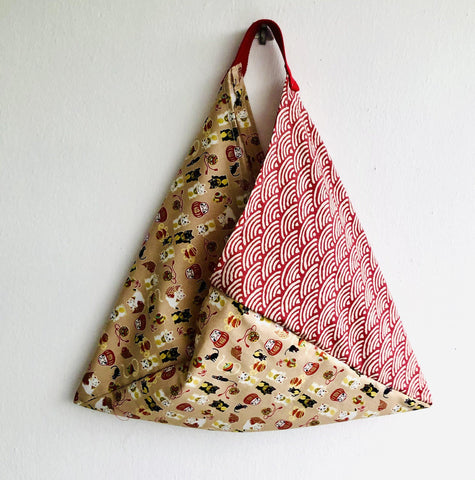 Origami bento bag , shoulder tote bags, fabric handmade triangle Japanese inspired bag | Lucky cats sailing in a sea with red waves