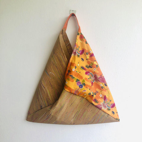 Origami bento bag , shoulder eco friendly tote bag , colorful cork bag | Orange crane & colorful cork lines
