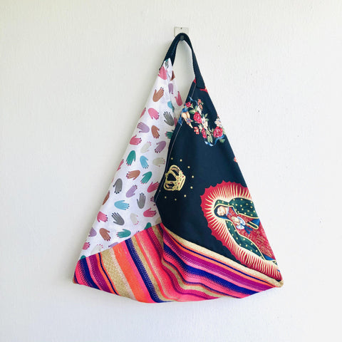 Bento origami shoulder bag , handmade eco friendly triangle bag | la Virgen de Guadalupe