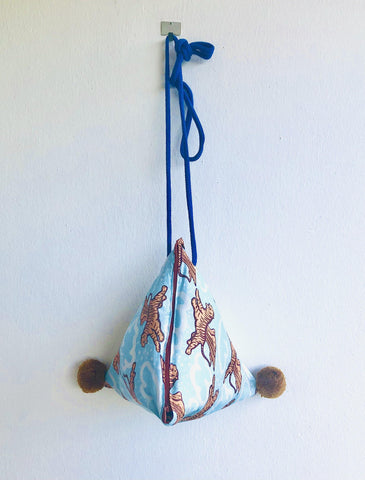 Origami dumpling bag , shoulder small pom pom bag , eco friendly tiger print bag | The Eye of the tiger