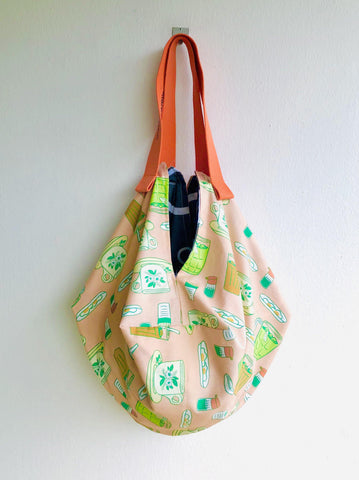 Origami sac shoulder bag , reversible eco friendly bag , cool fabric sac bag |  Can you buy me a teh please ?