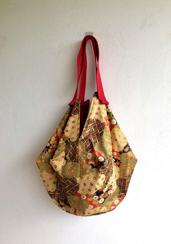 Shoulder sac origami , beautiful Japanese fabric bag , reversible eco friendly sac bag | red & golden garden