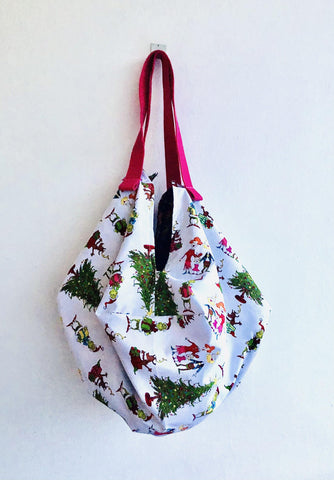 Shoulder sac origami bag , tote Christmas reversible bag , fun eco shopping fabric bag | The grinch