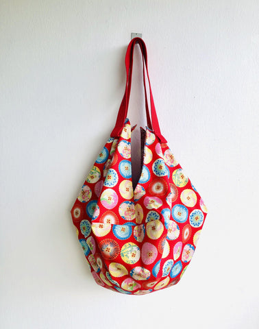 Origami colorful reversible bag, shoulder sac origami bag , Japanese fabric bag | Taking a stroll at sunset with my Japanese umbrella