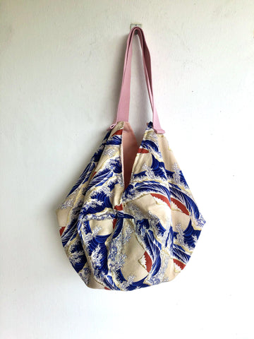 Japanese origami shoulder bento sac bag| Landscape of Sea in Japan