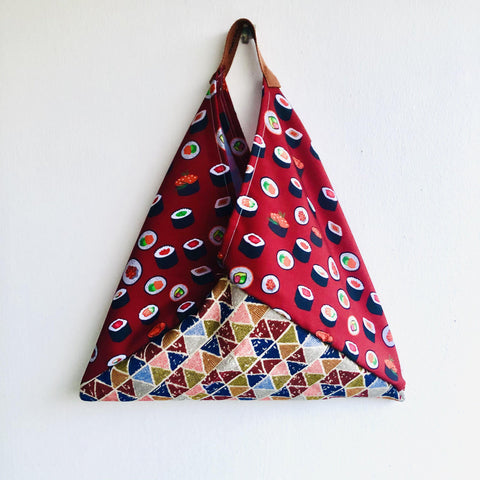 Tote origami bag ,handmade fabric eco friendly reusable bag , Japanese inspired |  love the geometry of sushi