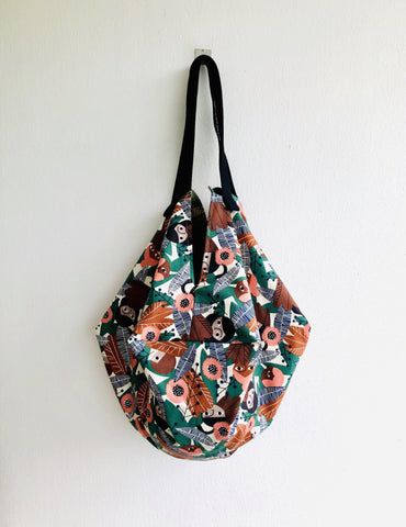 Shoulder origami bag , sac tote bag , organic cotton fabric , eco reversible bag | Kiki la exploradora