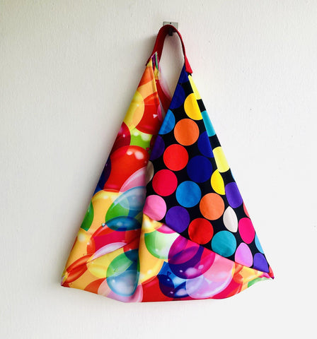 Colorful bento bag , shoulder tote bag , eco friendly shopping bag | Polka dots & balloons