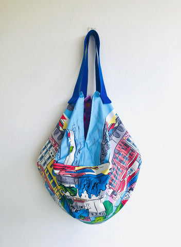 Origami sac bag , reversible shoulder sac bag , colorful tote sac bag | La Riviera