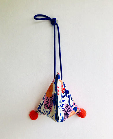 Cute triangle small bag , colorful pom pom baG , origami fabric bag | Ultramarine garden in Shanghai with red pom poms