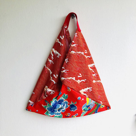 Colorful bento bag , origami tote bag , shoulder eco friendly tote bag | Phoenix flying over a Red Sea with golden waves