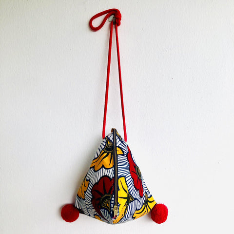 Dumpling bag , triangle origami cross body bag,African eco bag | African flowers