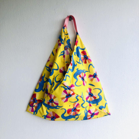 Origami bento bag , shoulder tote bag , colorful eco bag | running around Australia