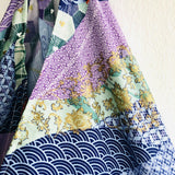 Japanese inspired tote bag , origami bento bag , shoulder fabric eco bag | Green & purpule Japan