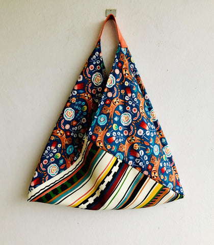 Origami ooak shoulder bag , cool eco friendly tote bag | summer garden with hidden tiger