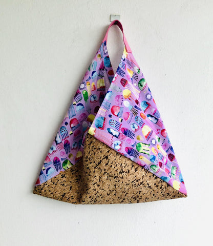 Shoulder origami bento bag , cool cork ecofriendly bag | Medusas & cork