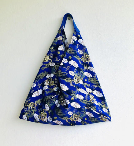 Origami bento bag , shoulder tote bag , handmade fabric triangle bag | Blue dragon