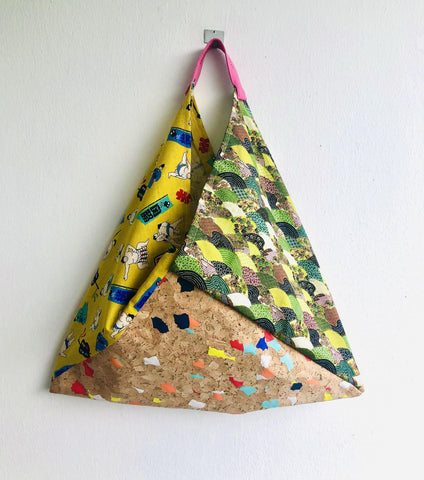 Origami bento bag , shoulder tote bag , Japanese fabric triangle bag | Japan & Confetti cork