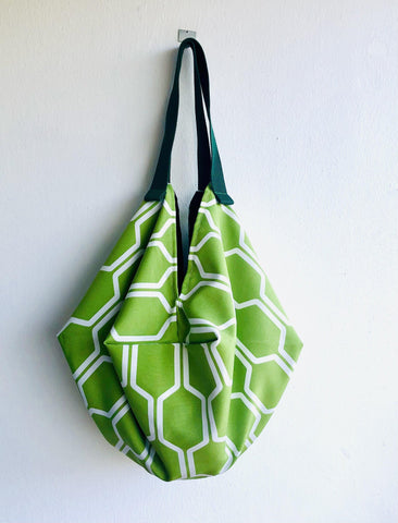 Origami sac bag , reversible fabric bag , shoulder shopping eco bag| Green jungle
