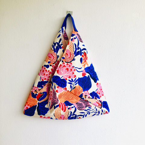 Origami bento bag, shoulder fabric tote , silk screen print colorful bag l Ultramarine blue & orange Shanghai garden