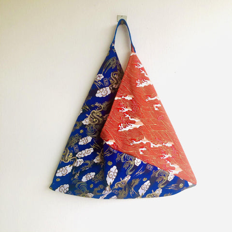Origami tote bag , shoulder bento bag , colorful eco friendly reusable bag | Blue and red  dragon