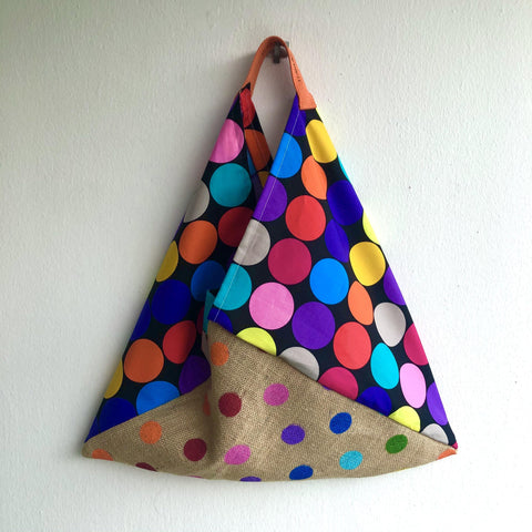Bento origami bag , handmade triangle tote bag , polka dots colorful fabric and jute bag | Lunares coloraos