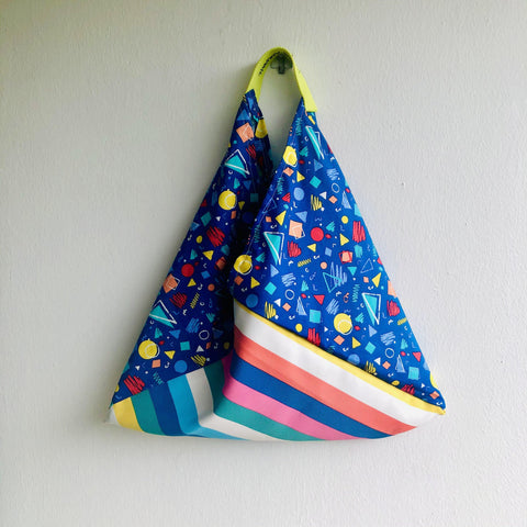 Bento shoulder bag , origami fabric triangle bag , colorful eco friendly bag | Colorful geometry galaxy