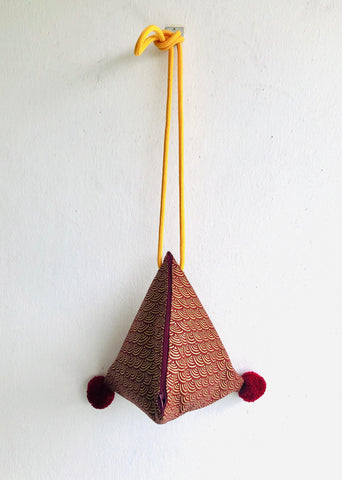 Shoulder origami bag , triangle small fabric bag , pom pom bag | Japan golden wave