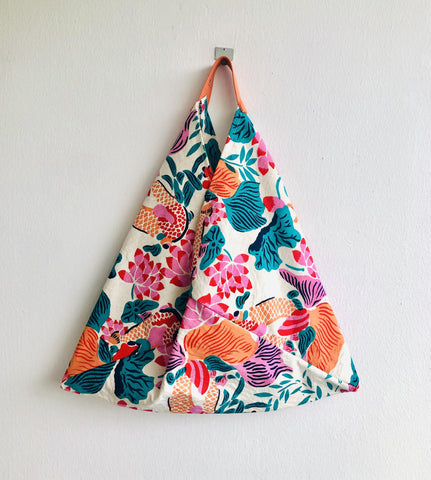 Bento tote bag , unique fabric origami bag , shoulder colorful bag | Green orange & pink Garden