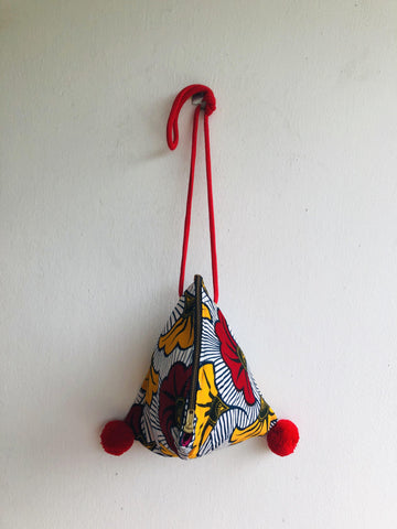 Summer colorful small cross sling bag , African fabric bag , pom poms bag | African flowers