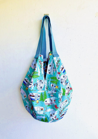 Shoulder origami sac bag ,reversible unique sac bag , eco friendly tote sac | let's go camping to Yellowstone
