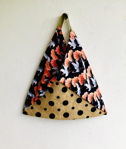Shoulder bento bag , origami polka dots cool bag | Cranes & dots