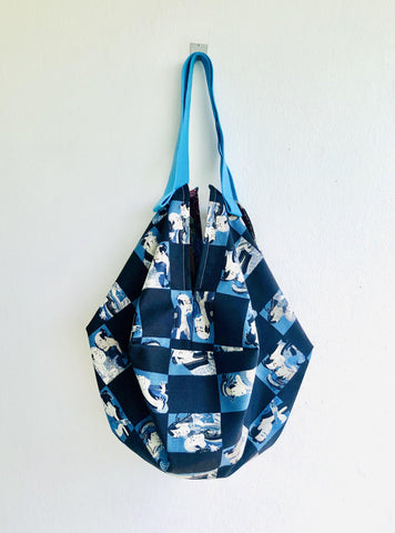 Origami sac reversible bag , fabric handmade Japanese inspired bag | Kabuki & mountain landscape