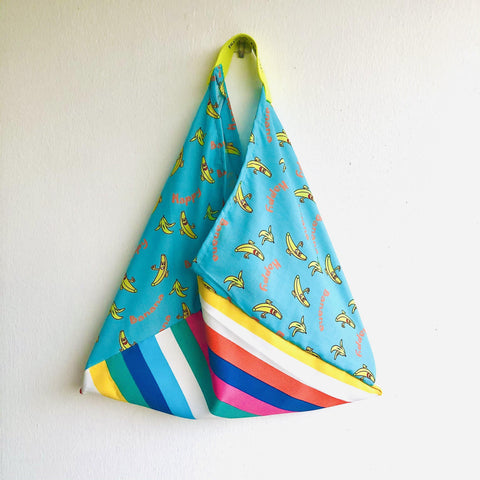 Tote colorful bag , origami summer bento bag , cool triangle handmade bag | Happy banana